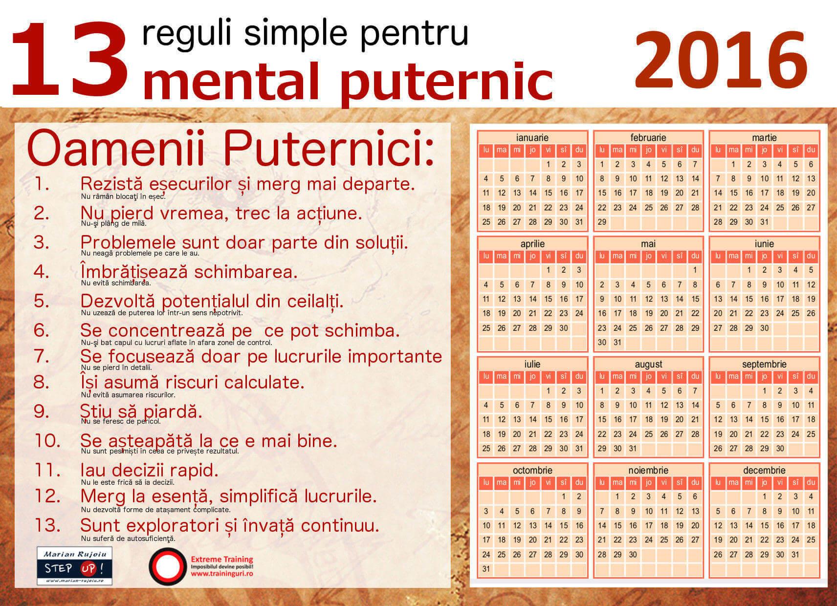 Calendar 2016 romanesc: 3 variante motivationale gratuite